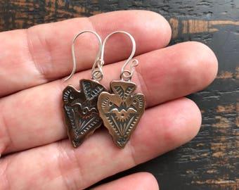 Copper Arrowhead Dangle Earrings