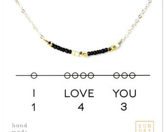 Secret Code Necklace, Valentine's Day Gift, I love you 143 Necklace - Black