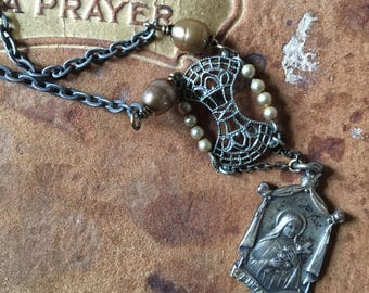 Assemblage necklace vintage religious medal art deco pearl assemblage jewelry ooak saint teresa