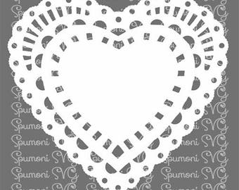 Instant Download  Sweetheart Doily SVG Cut File Commercial Use Digital File Valentine's Day, t shirts wood sign, htv, Cricut Silhouette lace