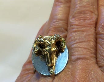 Zodiac Ram's Head Aries vintage adjustable ring size 7 to 9 approx. Astrology Silver and Gold tone No markings