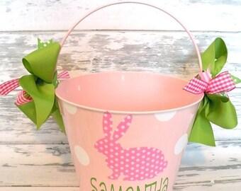 ON SALE Monogrammed Pink Polka Dot Bunny Easter Bucket