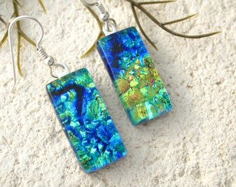 Golden Green Blue Earrings, Dichroic Earrings, Dichroic Jewelry, Dangle Drop Earrings, Fused Glass Sterling Earrings, ccvalenzo, 072017e106