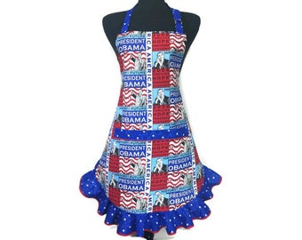 President Obama Apron for women with retro style ruffle , Patriotic kitchen decor / adjustable retro girls apron / Democrat / 4th of july