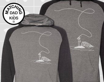 SALE! Matching Dad & Son Fly Fishing Hoodies | Father Son Matching Shirts | Daddy Daughter Matching Shirts | Fishing Gift | Gift for Dad