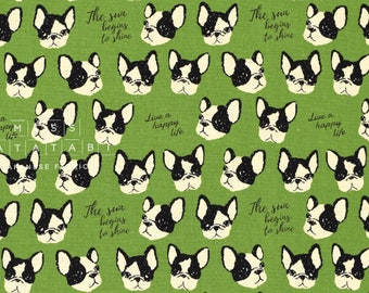 Japanese Fabric Kokka Boston Terriers - green - 50cm