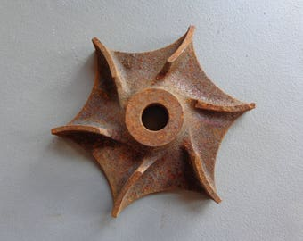 Vintage Industrial Rusty Salvage Cast Iron Star Part Repurpose Steampunk Metal Craft