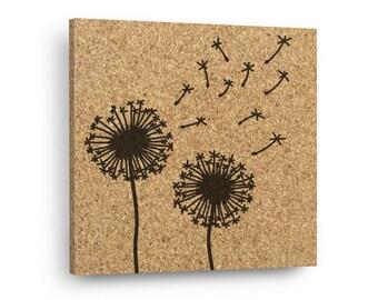 DANDELIONS Mix & Match Floral Cork Decor Art Tiles Or Kitchen Trivet - Wall DéCork