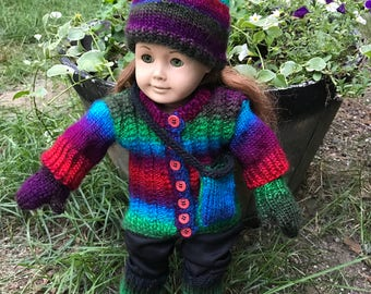 18 in doll hand knit ensemble with pants and purse