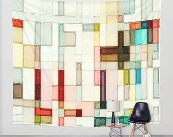 Pink Watercolor, Wall Tapestry, Pink Wall Hanging, Geometric Tapestry, Wall Hanging, Pink Tapestry, Abstract Tapestry, Abstract Watercolor