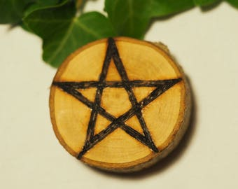 English Hawthorn Wood Pentagram Altar Piece/Amulet - Pagan, Wicca, Witchcraft, Pentacle