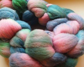 Handdyed Roving Wool Spinning Felting 3.25oz Merino Handspinning Felting Fiber Aspenmoonarts J11 Pink Green Blue