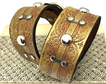 Rustic Golden Etched Leather Dog Collar with Bike Chain Links and Studs, Size M/L, to fit a 17-20in Neck, Large Dog, EcoFriendly, OOAK