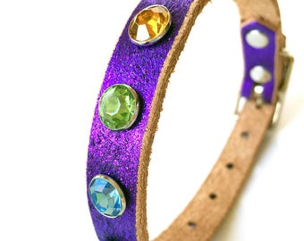 Royal Purple Glitter Leather Dog Collar with Giant Jewel Tone Gems, Size S, to fit a 9-12 Neck, Small Dog Collar, Made in Seattle USA