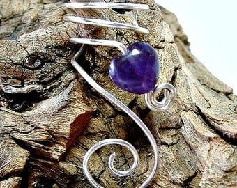 ON SALE Amethyst Celtic Heart Ear Cuff, No Piercing, Fairy Jewelry, Fantasy Vine Wrap, Ear Climber, Valentines Day Gift Idea, Bridal Ear Cuf