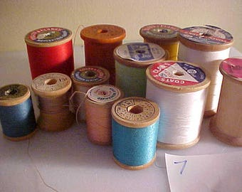 lot of 12 vintage Wooden Sewing Spools #6