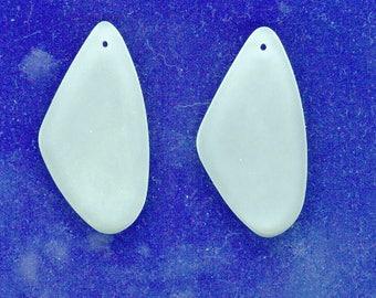 White Seaglass Pendant, Set 2 White 60 mm x 29 mm Sea Glass Pendant Bead Seaglass Charm