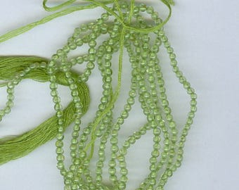 Green Peridot Beads, Genuine 2mm Peridot Round Spacer Beads, 2 13 inch Strands 1120