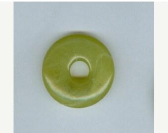 PI DAY SALE Green Focal Donut, 32mm Lemon Chrysoprase Gemstone Pi Donut Focal Pendant 9126