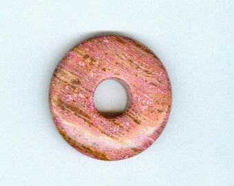 PI DAY SALE Pink Donut Pendant, 40mm Pink and Brown Jasper Gemstone Pi Donut Focal Pendant 624T