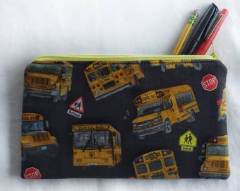 yellow school bus zipper pouch, back to school pencil or art supply bag, perfect for medication, epi-pen, or cosmetic, makeup travel purse