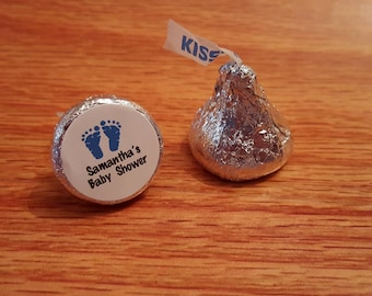 """Personalized Baby Shower Hershey Kiss Favor Labels Stickers Round Glossy 0.75"""""""