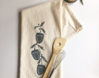 Sleigh Bells Block Printed 100% cotton Flour Sack Towel, Made in Seattle, Holiday Decor,