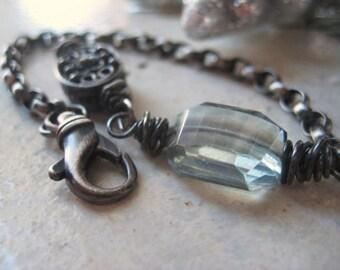 Blue Quartz Bracelet, Icy Blue, Sterling Silver, Ornate Bead, Oxidized Sterling, Faceted Step Quartz, candies64