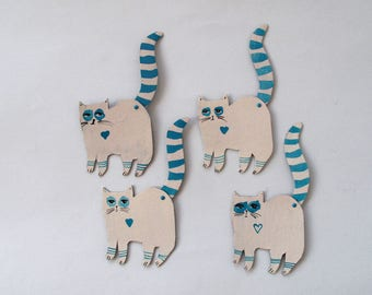 Aqua Creme Cats  / Little addition Articulated Decoration  / Hinged Beasts Series