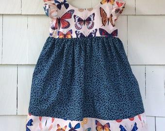 Butterfly Dress | Flutter Dress | Entomology | Specimen Chart | Moth Print | Science Dress  | infant toddler | Cotton Dress | STEM Clothing