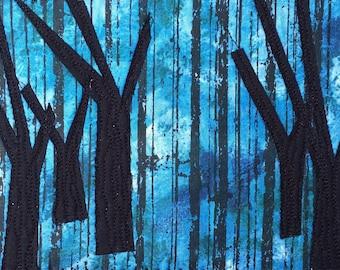 Modern Forest Fabric Art - Small Quilt - Landscape Art - Forest Landscape - Gift for Him - Unique Gift - Spooky Fabric Postcard - Modern Art