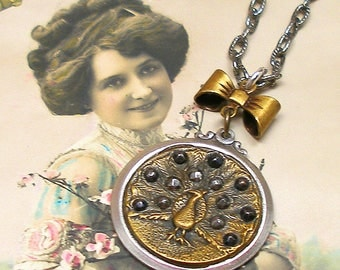 Peacock BUTTON necklace, Victorian bird with cut steel on silver chain. Button jewellery. Present, gift,