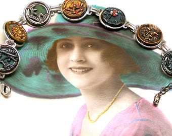 """Antique BUTTON bracelet, Art Nouveau plants & flowers in green and gold on silver. 7""""-8"""" jewellery. Adjustable."""