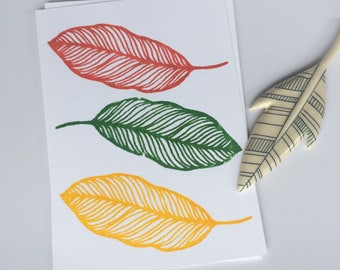Trio of Leaves Home Decor  Art Prints  Wall Art  Wall Decor Art  Screen Print  Silk Screen Print Gocco Print  Kitchen Decor  Limited Edition