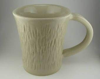 Handmade Pottery Ceramic Carved Mug By Powers Art Studio