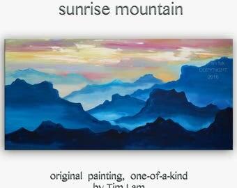 Sale Mountain Art Landscape Painting Original Acrylic Painting by tim Lam 48x24