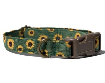 Sunflower Field  - Grass Green Sunflowers Flowers Floral Fall Organic Cotton CAT Collar Breakaway Safety - All Antique Brass Hardware
