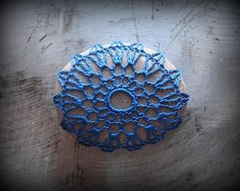 Crochet Lace Stone, Blue Thread, Table Decoration, Home Decor, Nature, Handmade, Unique, Small, Monicaj