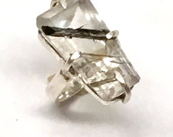 Alternative Engagement Ring, Statement Ring, Tourmaliated Quartz Ring, Tourmaliated, Cocktail Ring