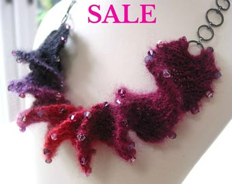 S A L E - Yarn Spiral Necklace Knitting Kit - Fuchsia