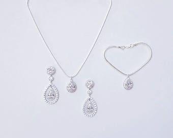 Silver Bridal Jewelry Set Earrings Wedding Earrings  Crystal Teardrop Earrings Pendant Bracelet Necklace Crystal Embellished Earrings