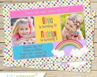 Rainbow Double Birthday Invitation - Joint Birthday Invite for Sisters, Twins, Friends, Cousins - Printable Invitation - DIY