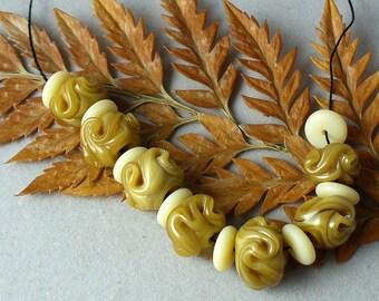 Lampwork beads/SRA lampwork/beads/glass beads/organic/nuggets/ ivory/