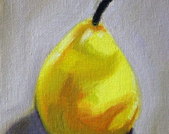 Oil Painting, Original Still Life, Kitchen Wall Decor, Yellow Pear, Small Fruit Art, Gray Gold, Minimalist, Backlit, Shadow, Tiny Little