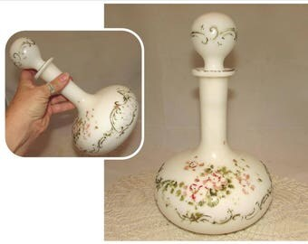 Antique Victorian Milk Glass Barber Shop Bottle or Decanter w Embossed design by Wirths Brothers of New York
