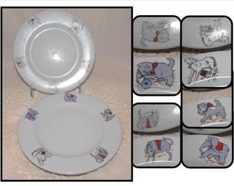 TWO - Vintage Lamberton Scammell Plates Platinum Blue, Dutchland Farms Restaurant Dishes, Animals