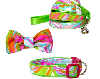 SCUBA to CUBA Dog Collar and/or Leash on Green with Bow or Flower Option Made from Lilly Pulitzer Fabric Size: Your Choice