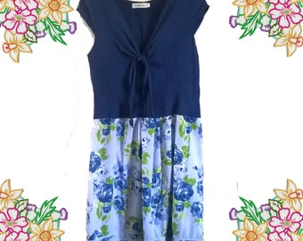 Refashion Linen and Cotton Tie Top Dress. Shades of Blue / Roses. Size small - medium. Upcycled Clothing.
