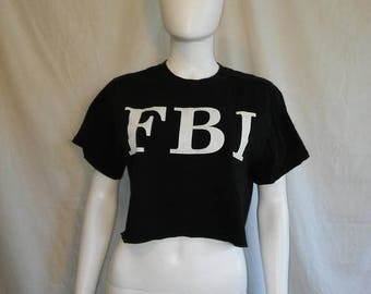 SALE 25% off SALE 90s Crop top FBI t shirt half shirt
