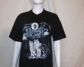 Closing Shop 40%off SALE Wolf wolves black t shirt, Moon wolf t shirt, size XL wolf t shirt